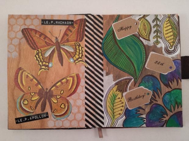 Birthday Butterflies Art Journal Page